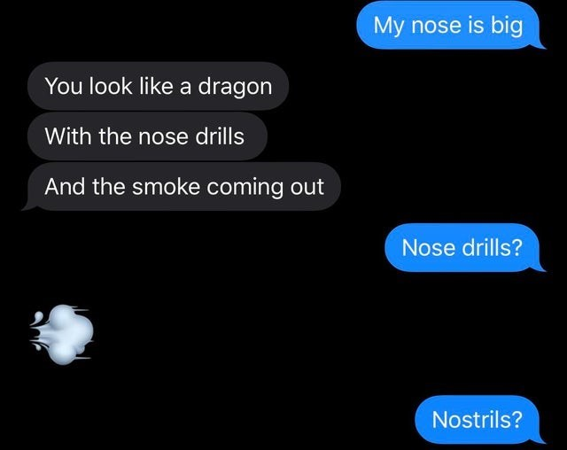 Text - My nose is big You look like a dragon With the nose drills And the smoke coming out Nose drills? Nostrils?