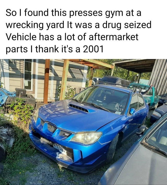 Land vehicle - So I found this presses gym at a wrecking yard It was a drug seized Vehicle has a lot of aftermarket parts I thank it's a 2001 3/28