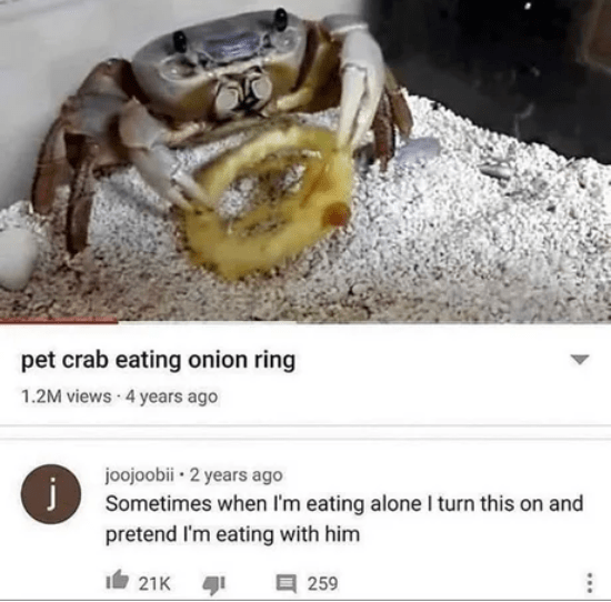 Crab - pet crab eating onion ring 1.2M views 4 years ago joojoobii · 2 years ago Sometimes when I'm eating alone I turn this on and pretend I'm eating with him j It 21K 目 259