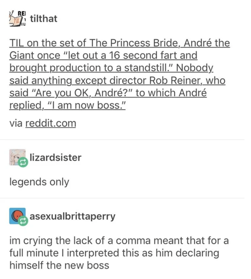 """Text - KREI i tilthat TIL on the set of The Princess Bride, André the Giant once """"let out a 16 second fart and brought production to a standstill."""" Nobody said anything except director Rob Reiner, who said """"Are you OK, André?"""" to which André replied, """"I am now boss."""" via reddit.com lizardsister legends only asexualbrittaperry im crying the lack of a comma meant that for a full minute I interpreted this as him declaring himself the new boss"""