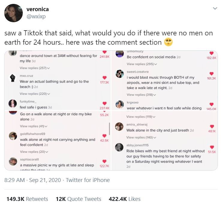 Text - veronica @wxixp saw a Tiktok that said, what would you do if there were no men on earth for 24 hours... here was the comment section urmomiucy dance around town at 3AM without fearing for 241.8K Be confident on social media 2d 182.8K my life 3d View replies (295) v View replies (257)v sweet.creatvre i would blast music through BOTH of my mxo.cruz 161.3K Wear an actual bathing suit and go to the beach :) 2d 177.3K airpods, wear a miní skirt and tube top, and take a walk late at night. 2d V
