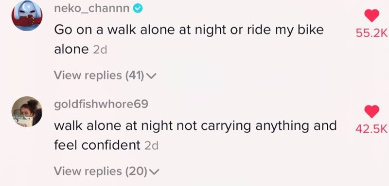 Text - neko_channn Go on a walk alone at night or ride my bike 55.2K alone 2d View replies (41) ▼ goldfishwhore69 walk alone at night not carrying anything and 42.5K feel confident 2d View replies (20)v