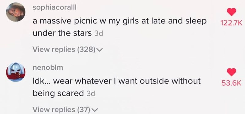 Text - sophiacoralll a massive picnic w my girls at late and sleep 122.7K under the stars 3d View replies (328)▼ nenoblm Idk... wear whatever I want outside without 53.6K being scared 3d View replies (37) v
