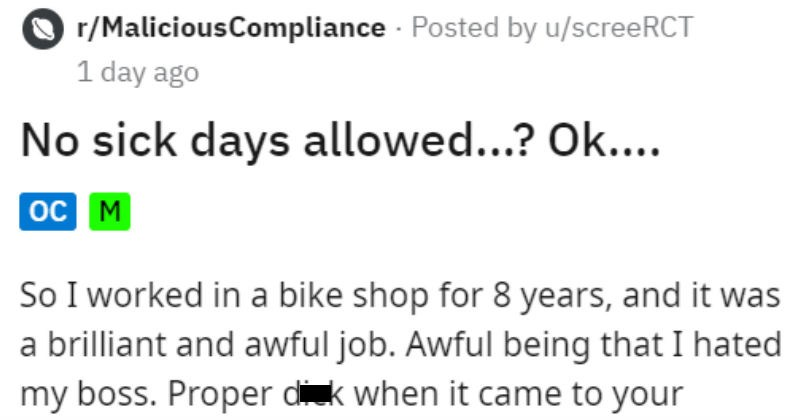 Bike shop employee ruins his boss's Christmas by standing up to him and taking sick days