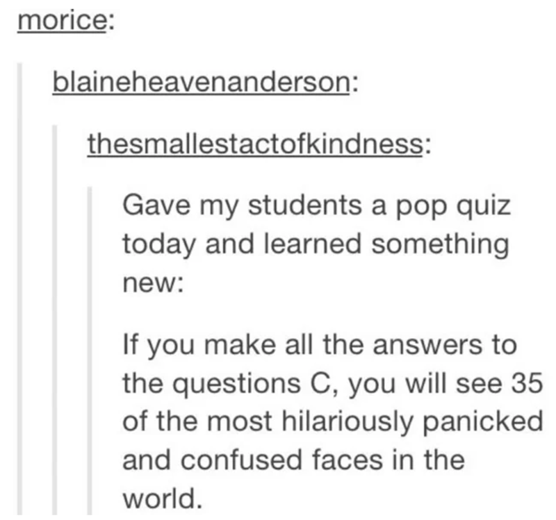 Text - morice: blaineheavenanderson: thesmallestactofkindness: Gave my students a pop quiz today and learned something new: If you make all the answers to the questions C, you will see 35 of the most hilariously panicked and confused faces in the world.