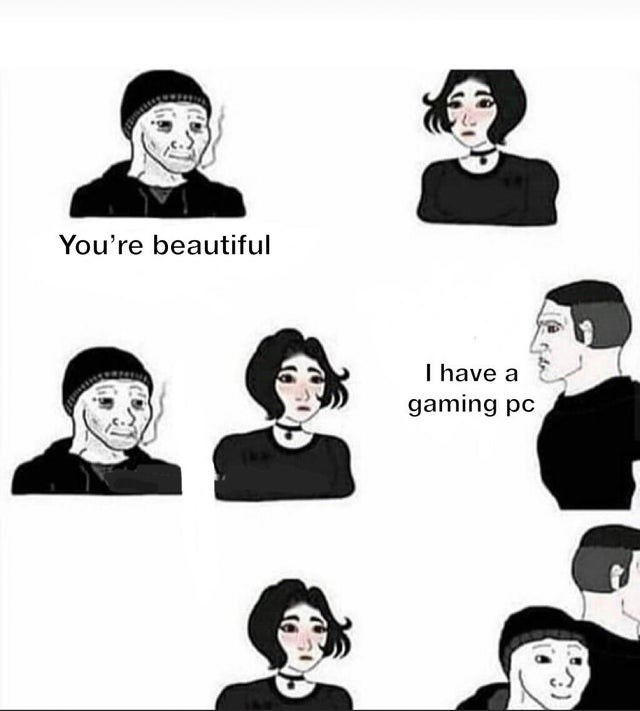 Facial expression - You're beautiful I have a gaming pc