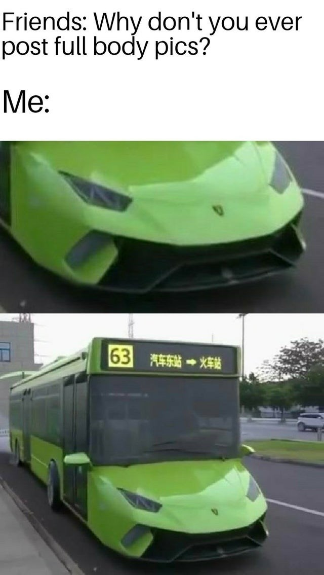 Green - Friends: Why don't you ever post full body pics? Me: 63 车东站→*车