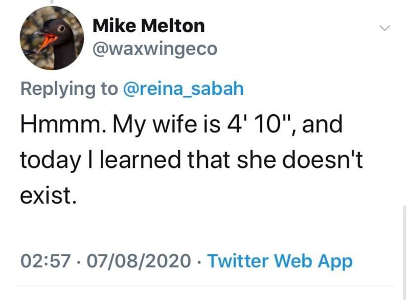 """Text - Mike Melton @waxwingeco Replying to @reina_sabah Hmmm. My wife is 4' 10"""", and today I learned that she doesn't exist. 02:57 · 07/08/2020 · Twitter Web App"""