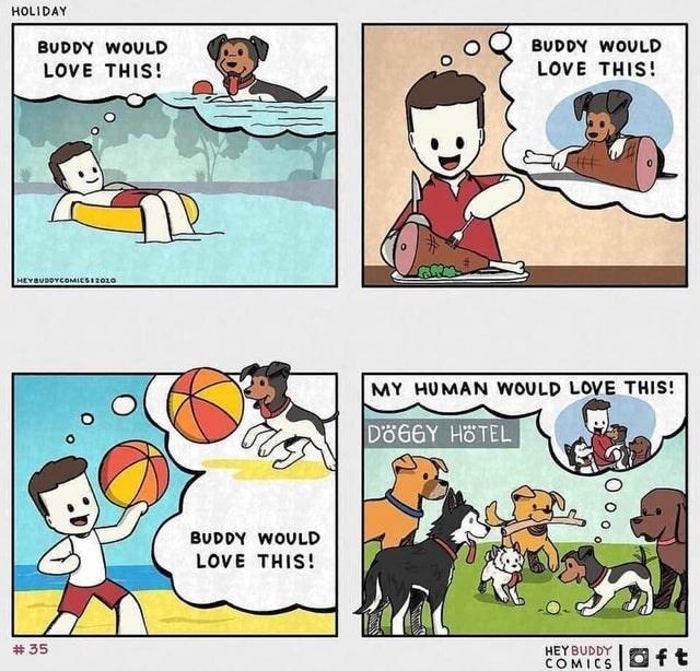 Cartoon - HOLIDAY BUDDY WOULD BUDDY WOULD LOVE THIS! LOVE THIS! HEYBUDDYCOMICSI2010 MY HUMAN WOULD LOVE THIS! DÖGGY HÖTEL BUDDY WOULD LOVE THIS! # 35 HEY BUDDY COMICS 回ft