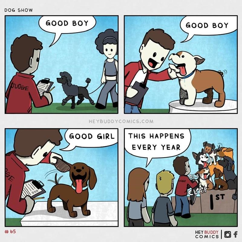 Cartoon - DOG SHOW GOOD BOY GOOD BOY bUDEE HEYBUDDYCOMICS.COM GOOD GIRL THIS HAPPENS EVERY YEAR CL  ST # b5 HEY BUDDY COMICS O f HE