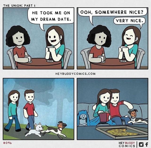 Cartoon - THE UNION: PART I HE TOOK ME ON OOH, SOMEWHERE NICE? MY DREAM DATE. VERY NICE. HEYBUDDYCOMICS.COM HEY BUDDY COMICS #096 Of