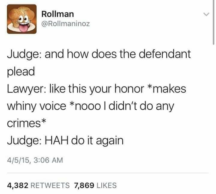 Text - Rollman @Rollmaninoz Judge: and how does the defendant plead Lawyer: like this your honor *makes whiny voice *nooo I didn't do any crimes* Judge: HAH do it again 4/5/15, 3:06 AM 4,382 RETWEETS 7,869 LIKES