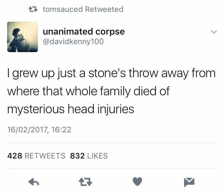 Text - t7 tomsauced Retweeted unanimated corpse @davidkenny100 I grew up just a stone's throw away from where that whole family died of mysterious head injuries 16/02/2017, 16:22 428 RETWEETS 832 LIKES