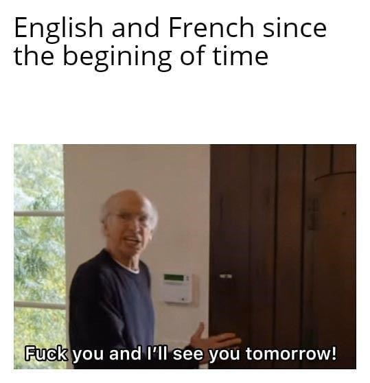 Text - English and French since the begining of time Fuck you and l'll see you tomorrow!
