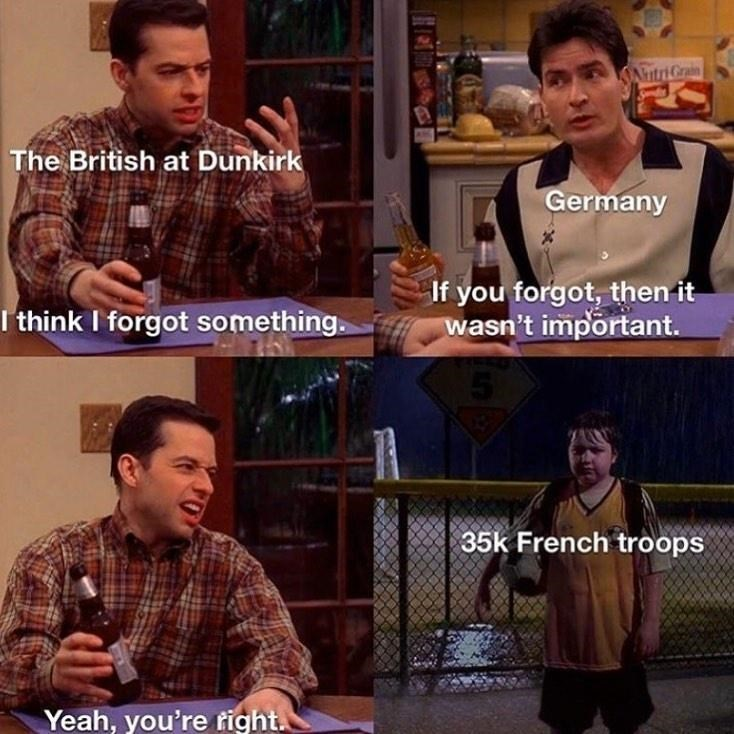 Facial expression - AntriGrain The British at Dunkirk Germany I think I forgot something. If you forgot, then it wasn't important. 35k French troops Yeah, you're right.