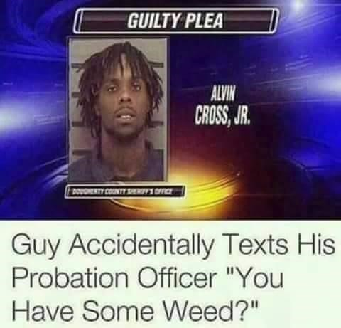 """Text - GUILTY PLEA ALVIN CROSS, JR. DOUOHERTY CONTY TERI DCE Guy Accidentally Texts His Probation Officer """"You Have Some Weed?"""""""
