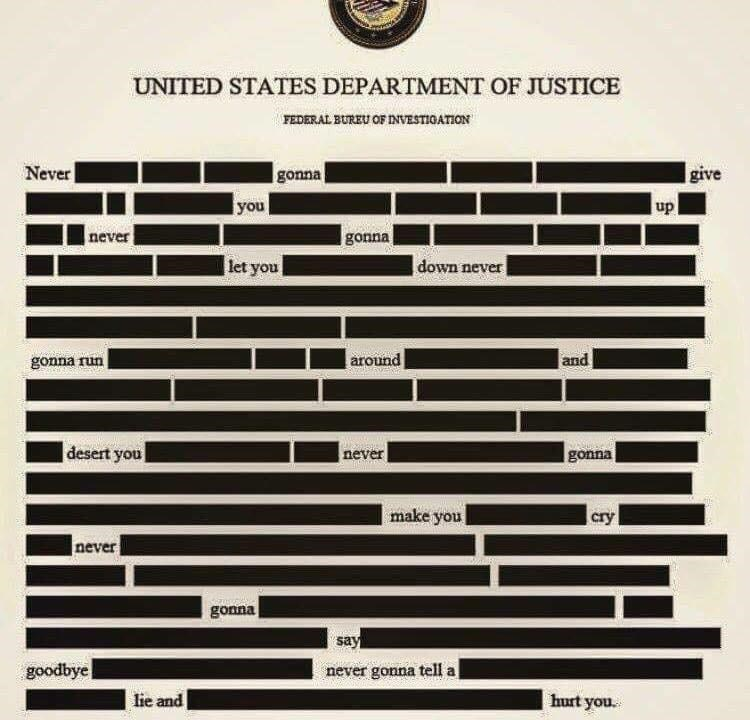 Text - UNITED STATES DEPARTMENT OF JUSTICE FEDERAL BUREU OF INVESTIOATION Never gonna give you up never gonna let you down never gonna run around and desert you gonna never make you cry never gonna say goodbye never gonna tell a lie and hurt you.