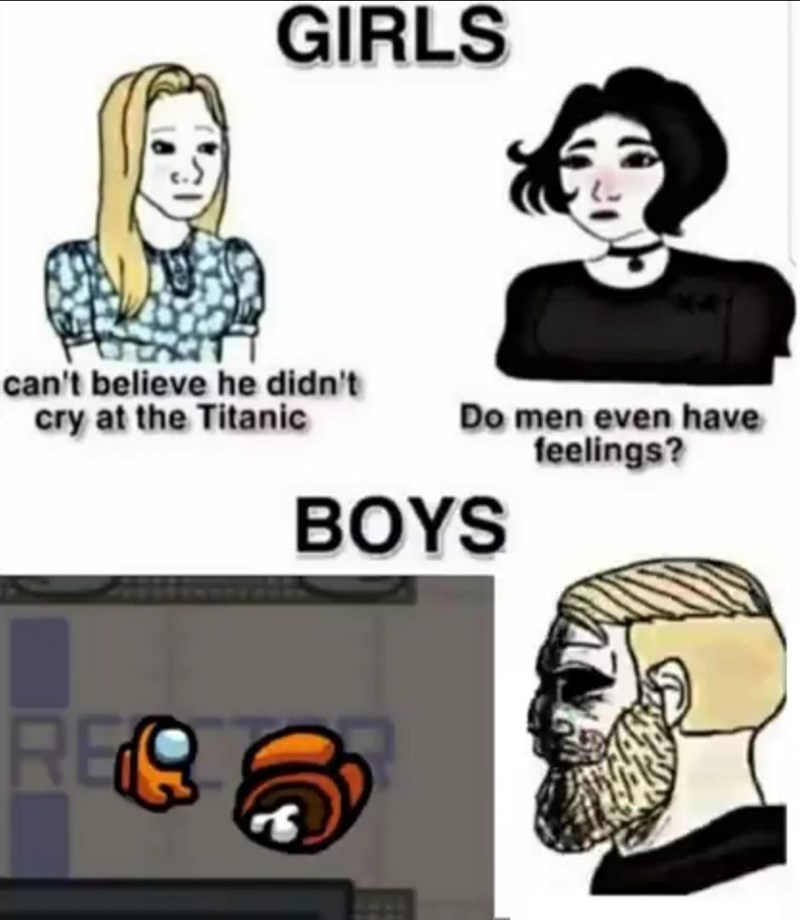 Cartoon - GIRLS can't believe he didn't cry at the Titanic Do men even have feelings? BOYS REO