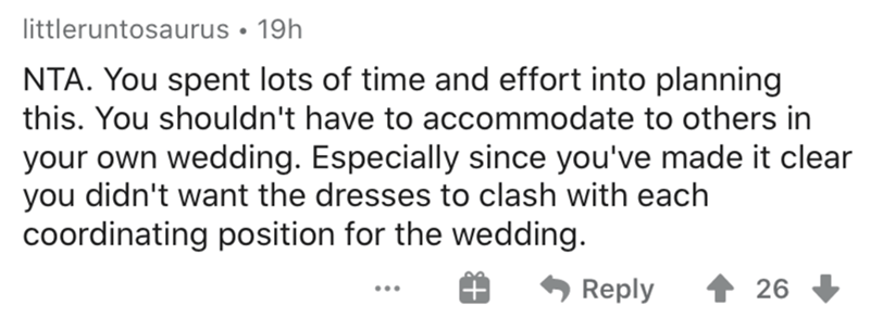 Text - littleruntosaurus • 19h NTA. You spent lots of time and effort into planning this. You shouldn't have to accommodate to others in your own wedding. Especially since you've made it clear you didn't want the dresses to clash with each coordinating position for the wedding. Reply 26 ...