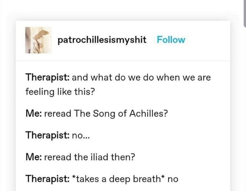 Text - patrochillesismyshit Follow Therapist: and what do we do when we are feeling like this? Me: reread The Song of Achilles? Therapist: no... Me: reread the iliad then? Therapist: *takes a deep breath* no