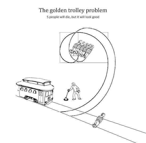 Diagram - The golden trolley problem 5 people will die, but it will look good