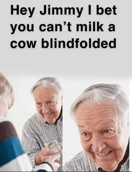 People - Hey Jimmy I bet you can't milk a cow blindfolded