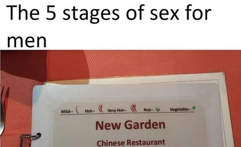 Text - The 5 stages of sex for men Mild-- Hot- Very Hot- Nut- Vegetable-- New Garden Chinese Restaurant