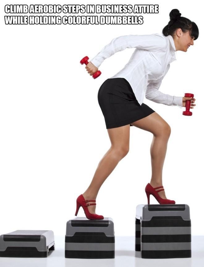 Leg - CLIMBAEROBIC STEPS IN BUSINESS ATTIRE WHILE HOLDING COLORFULDUMBBELLS