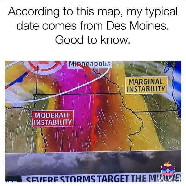 Text - According to this map, my typical date comes from Des Moines. Good to know. MIRneapoli MARGINAL INSTABILITY MODERATE INSTABILITY SEVERE STORMS TARGET THE MIME