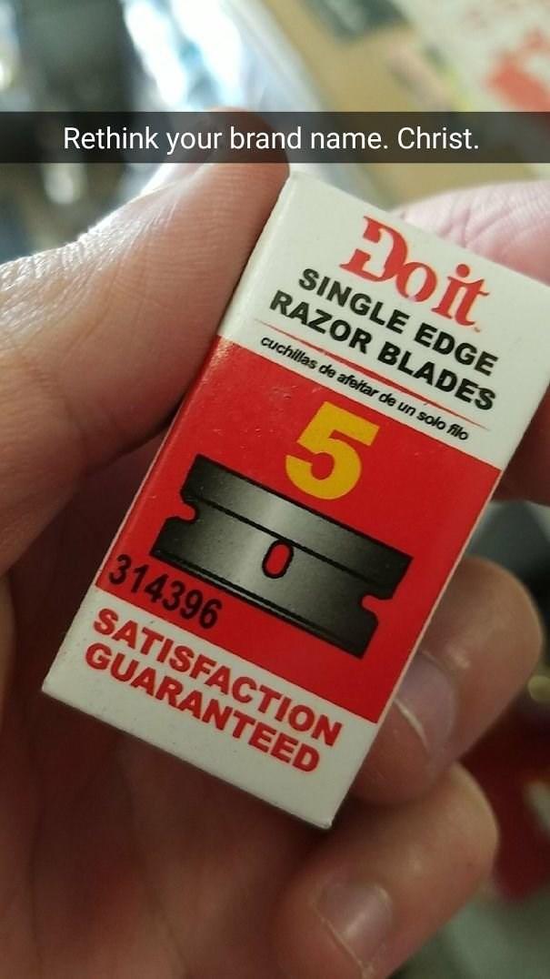Text - Đoit Rethink your brand name. Christ. SINGLE EDGE RAZOR BLADES cuchillas de afeitar de un solo filo 314396 SATISFACTION GUARANTEED 5