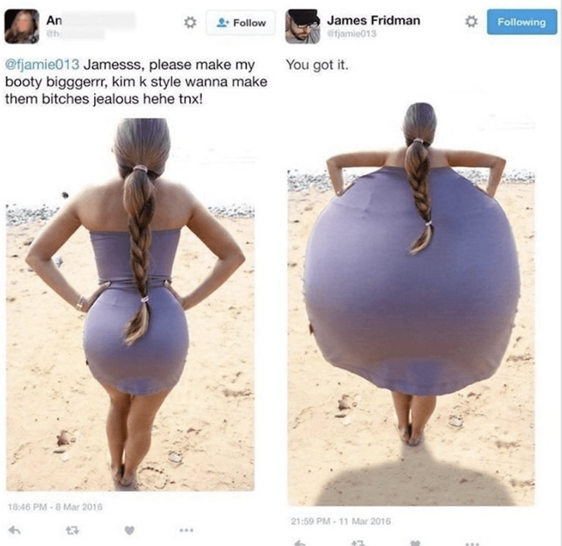 Shoulder - An James Fridman efjamie013 * Follow Following @fjamie013 Jamesss, please make my booty bigggerrr, kim k style wanna make them bitches jealous hehe tnx! You got it. 18:46 PM - 8 Mar 2016 21:59 PM - 11 Mar 2016