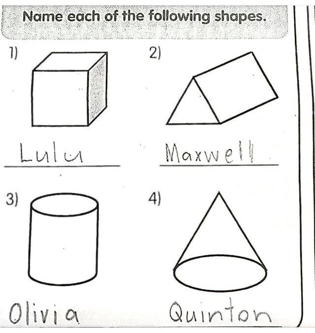 Text - Name each of the following shapes. 1) 2) Lulu Maxwell 3) 4) Olivia Quinton