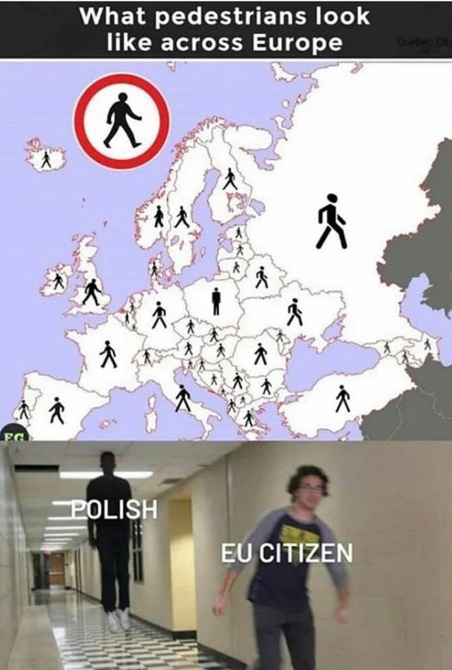 What pedestrians look like across Europe different pedestrian crossing signs Poland is facing forward Floating Boy Chasing Running Boy