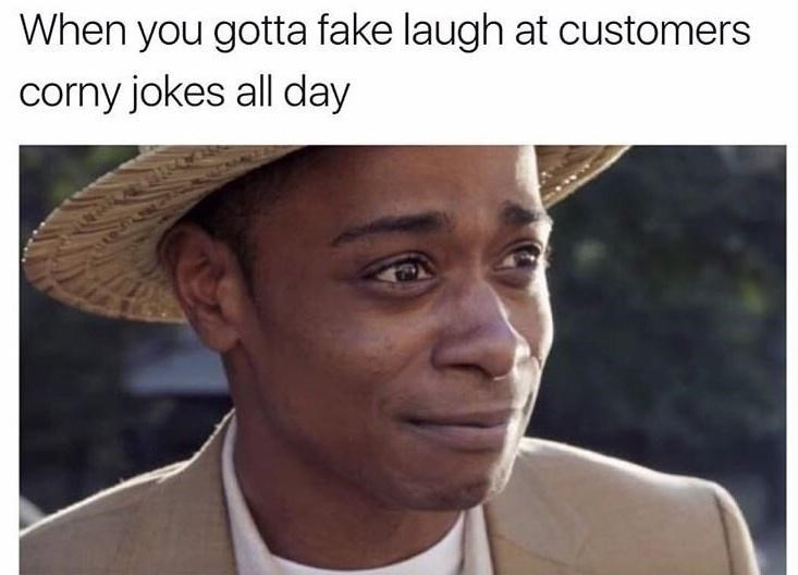 Facial expression - When you gotta fake laugh at customers corny jokes all day