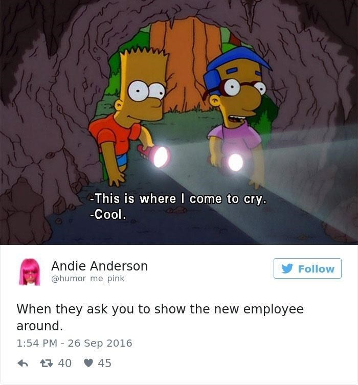 Cartoon - This is where I come to cry. -Cool. Andie Anderson @humor_me_pink Follow When they ask you to show the new employee around. 1:54 PM 26 Sep 2016 6 17 40 V 45