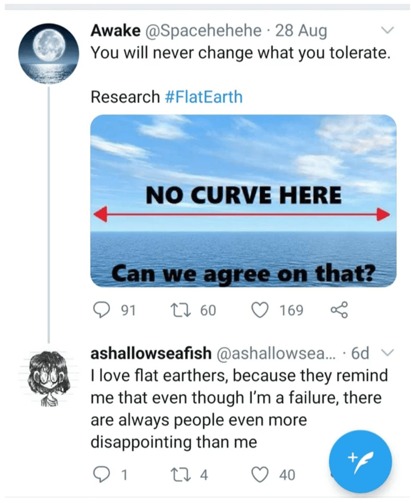 Text - Awake @Spacehehehe · 28 Aug You will never change what you tolerate. Research #FlatEarth NO CURVE HERE Can we agree on that? 91 27 60 169 ashallowseafish @ashallowsea. · 6d I love flat earthers, because they remind me that even though I'm a failure, there are always people even more disappointing than me 1 27 4 40