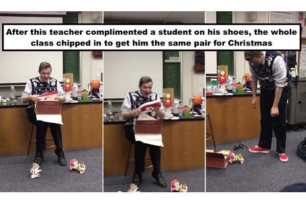 Table - After this teacher complimented a student on his shoes, the whole class chipped in to get him the same pair for Christmas