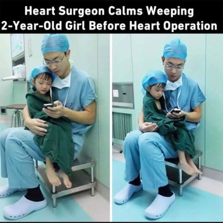 Medical procedure - Heart Surgeon Calms Weeping 2-Year-Old Girl Before Heart Operation
