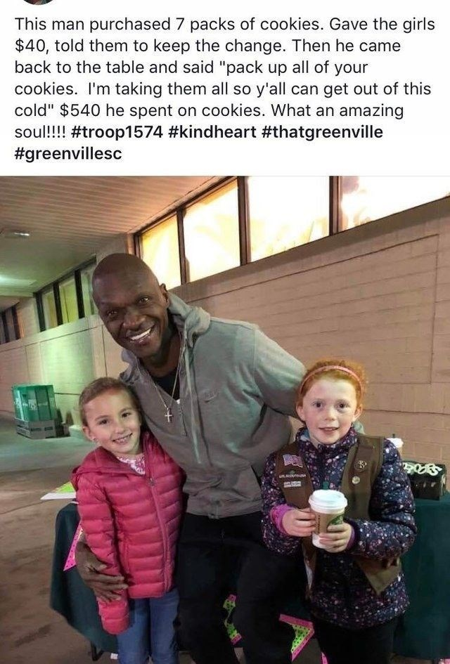 """People - This man purchased 7 packs of cookies. Gave the girls $40, told them to keep the change. Then he came back to the table and said """"pack up all of your cookies. I'm taking them all so y'all can get out of this cold"""" $540 he spent on cookies. What an amazing soul!!!! #troop1574 #kindheart #thatgreenville #greenvillesc"""