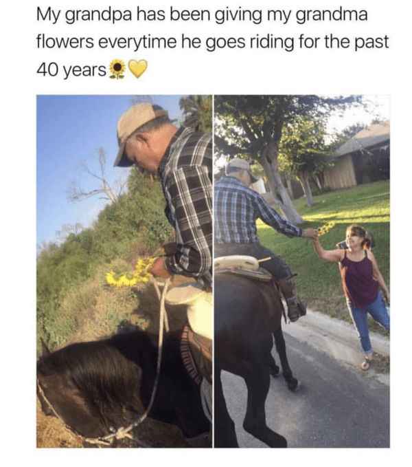 Adaptation - My grandpa has been giving my grandma flowers everytime he goes riding for the past 40 years
