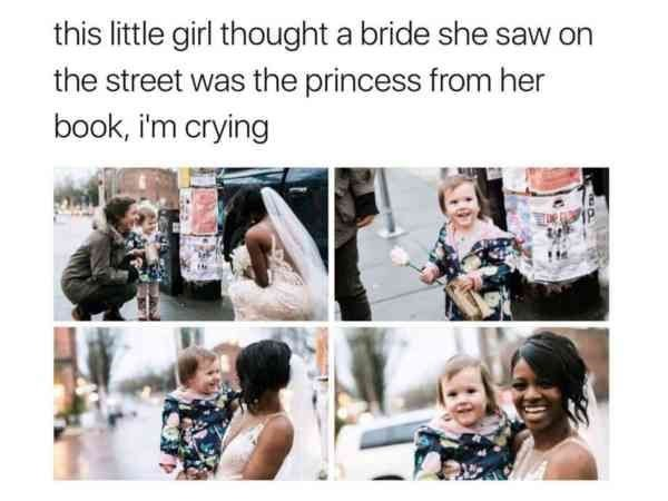 Text - this little girl thought a bride she saw on the street was the princess from her book, i'm crying
