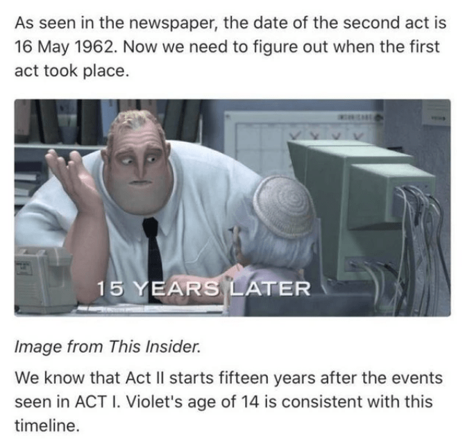 Text - As seen in the newspaper, the date of the second act is 16 May 1962. Now we need to figure out when the first act took place. 15 YEARS LATER Image from This Insider. We know that Act II starts fifteen years after the events seen in ACT I. Violet's age of 14 is consistent with this timeline.