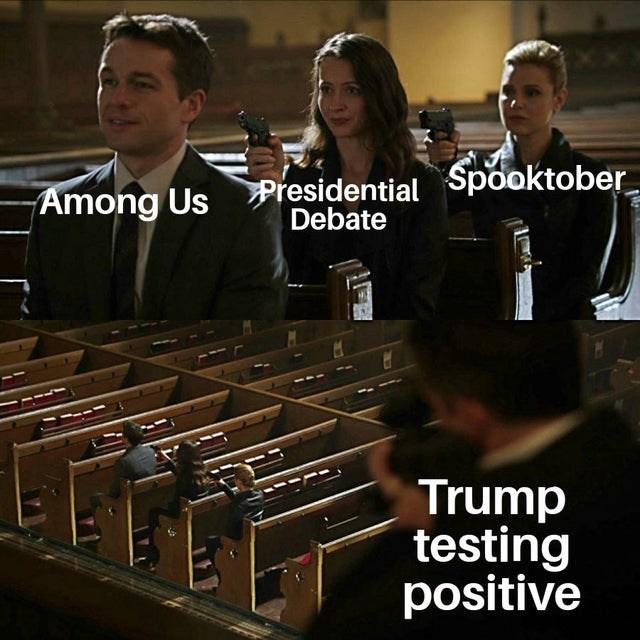 Font - Among Us Presidential Spooktober Debate Trump testing positive