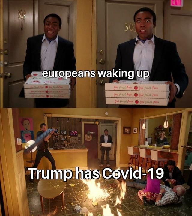Photo caption - 30 seuropeans waking up d Fresh Pn Trump. has Covid-19