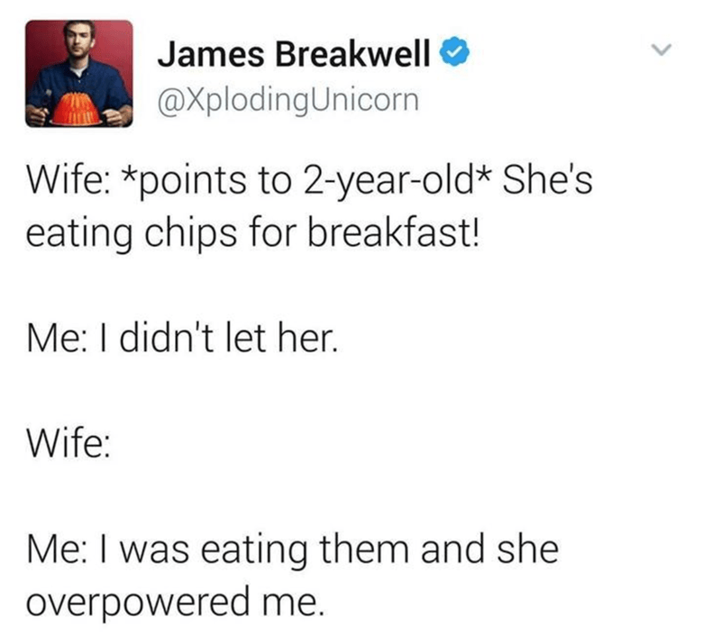 Text - James Breakwell @XplodingUnicorn Wife: *points to 2-year-old* She's eating chips for breakfast! Me: I didn't let her. Wife: Me: I was eating them and she overpowered me. >