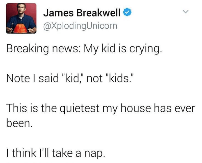 """Text - James Breakwell @XplodingUnicorn Breaking news: My kid is crying. Note I said """"kid,"""" not """"kids."""" This is the quietest my house has ever been.   think l'll take a nap. >"""