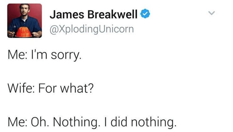 Text - James Breakwell O @XplodingUnicorn Me: I'm sorry. Wife: For what? Me: Oh. Nothing. I did nothing.