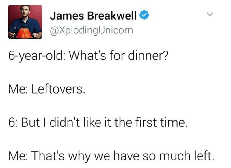 Text - James Breakwell @XplodingUnicorn 6-year-old: What's for dinner? Me: Leftovers. 6: But I didn't like it the first time. Me: That's why we have so much left.