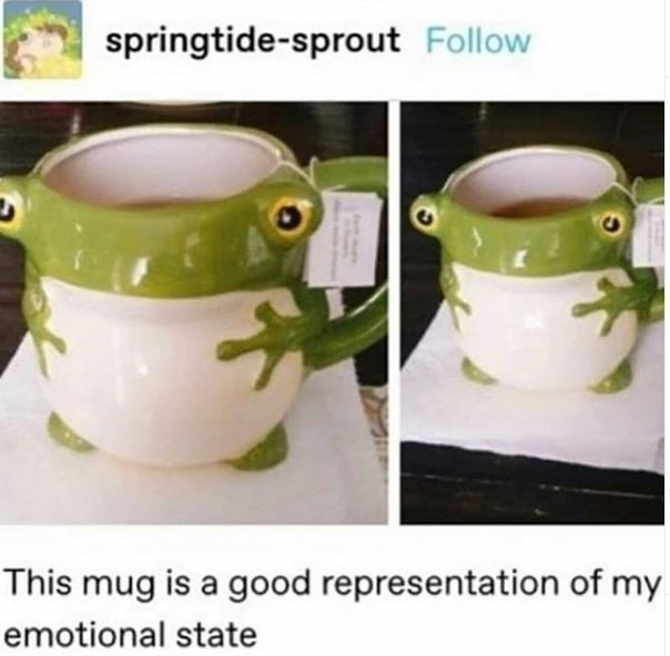 Cup - springtide-sprout Follow This mug is a good representation of my emotional state