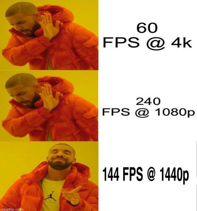 Orange - 60 FPS @ 4k 240 FPS @ 1080p 144 FPS @ 1440p imgflip.com